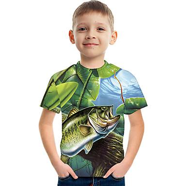 hesapli Kids CollectionUnder $8.99-Çocuklar Genç Erkek Actif Sokak Şıklığı Zıt Renkli 3D Desen Kısa Kollu Tişört Yonca