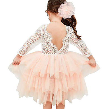 cheap Baby & Kids-Kids Toddler Girls' Active Cute Color Block Lace Mesh Lace Trims 3/4 Length Sleeve Asymmetrical Dress Blushing Pink