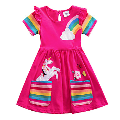 EG/_ Cute Cartoon Striped Deer Embroidery  Long Sleeve Toddler Baby Girl Dress La