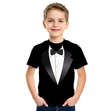 cheap Baby & Kids-Kids Boys' Basic 3D Short Sleeve Tee Black