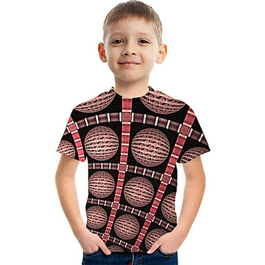 cheap Kids Collection Under $8.99-Kids Boys' Active Street chic Color Block 3D Print Short Sleeve Tee Brown