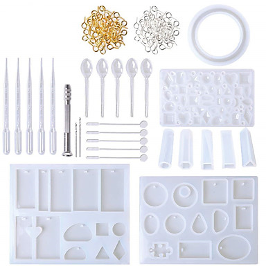 cheap Baking & Pastry Tools-Silicone Mold Set DIY Clay Epoxy Resin Casting and Tools Set with Storage Bag for Jewelry Ring Earring Pendant 62 Pcs Lot