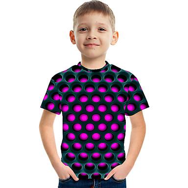 billige BarnekolleksjonUnder $8.99-Børn Drenge Basale Gade Prikker Farveblok 3D Trykt mønster Kortærmet T-shirt Lilla