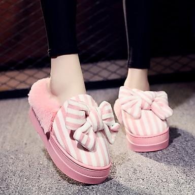 ราคาถูก รองเท้าผู้หญิง-สำหรับผู้หญิง รองเท้าแตะและรองเท้าแตะ ส้นแบน ปลายกลม ฝ้าย ฤดูร้อนฤดูใบไม้ผลิ สีบานเย็น / สีชมพู / สีดำ