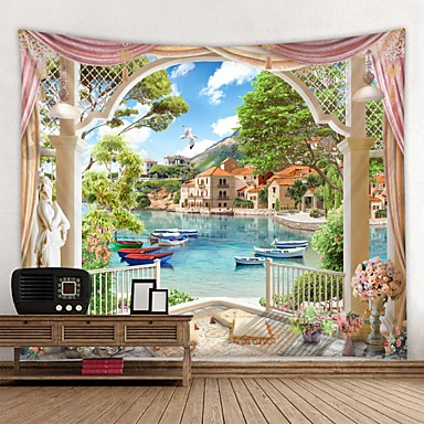 cheap Wall Tapestries-Window Landscape Wall Tapestry Art Decor Blanket Curtain Picnic Tablecloth Hanging Home Bedroom Living Room Dorm Decoration Polyester Beach Boat House Forest