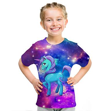 voordelige Meisjestops-Kinderen Meisjes Actief Street chic 3D Print Korte mouw T-shirt Paars