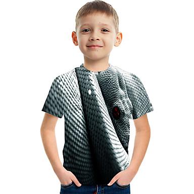 hesapli Kids CollectionUnder $8.99-Çocuklar Genç Erkek Temel Sokak Şıklığı Zıt Renkli 3D Hayvan Desen Kısa Kollu Tişört Açık Gri