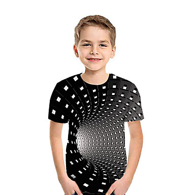 cheap Baby & Kids-Kids Boys' T shirt Tee 3D Short Sleeve Basic Rainbow