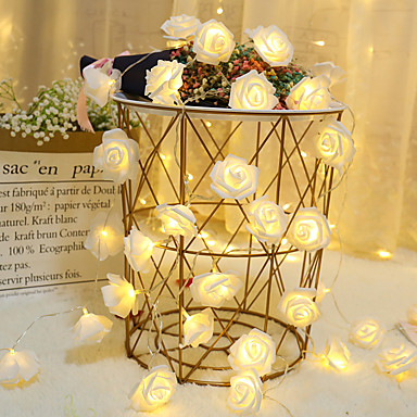 cheap Gifts & Decorations-1M 10led AA Battery Powered Rose Flower Christmas Holiday String Lights Valentine's Day Wedding Party Garland Decor Luminaria