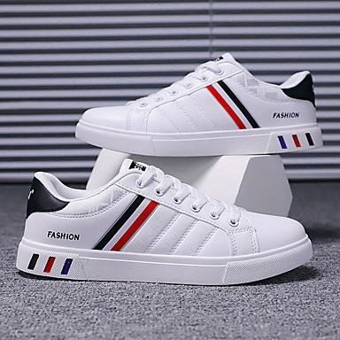ราคาถูก ของมาใหม่-สำหรับผู้ชาย PU ฤดูร้อน / ตก ไม่เป็นทางการ / Preppy รองเท้าผ้าใบ วสำหรับเดิน ไม่ลื่นไถล สีดำและสีขาว / ขาวและเงิน / สีดำ