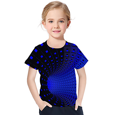 cheap Baby & Kids-Kids Toddler Girls' Active Basic Geometric Print Color Block Print Short Sleeve Tee Purple