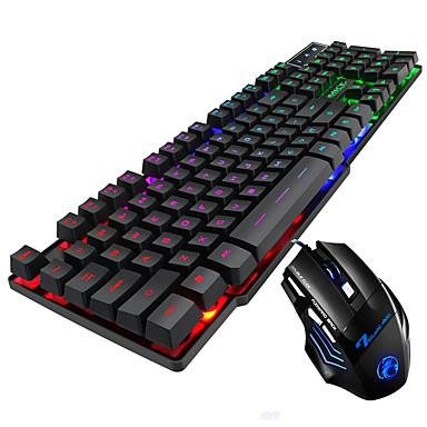 cheap Keyboards-LITBest AK-600 USB Wired Gaming Keyboard Office Keyboard Luminous Multicolor Backlit 104 pcs Keys