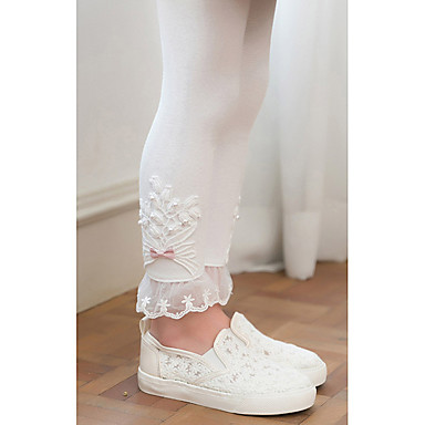 billiga Flickbyxor och leggings-Barn Flickor Aktiv Grundläggande Vit Dusty Rose Enfärgad Spets Broderad Leggings Vit