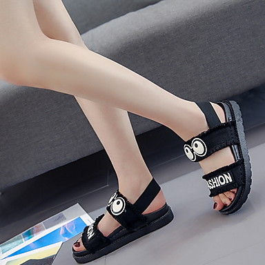 cheap Women's Shoes-Women's Sandals Flat Heel Round Toe PU Spring & Summer White / Black