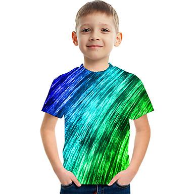billige BarnekolleksjonUnder $8.99-Børn Drenge Aktiv Gade Farveblok 3D Trykt mønster Kortærmet T-shirt Grøn