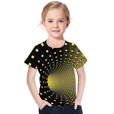 abordables Hauts Filles-Enfants Bébé Fille Actif Basique Géométrique Imprimé Bloc de Couleur Imprimé Manches Courtes Tee-shirts Violet