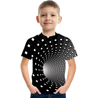 cheap Kids Collection Under $8.99-Kids Boys' Active Street chic Color Block 3D Print Short Sleeve Tee Black