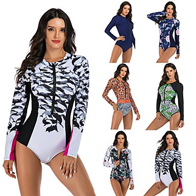cheap Exercise, Fitness & Yoga-Women's One Piece Swimsuit Floral / Botanical Padded Swimwear Swimwear Black Red Green Thermal / Warm Breathable Quick Dry Long Sleeve - Swimming Surfing Water Sports Autumn / Fall Spring / Stretchy
