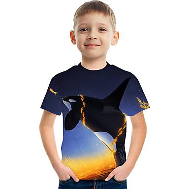 cheap Baby & Kids-Kids Boys' Basic Street chic Color Block 3D Animal Print Short Sleeve Tee Rainbow