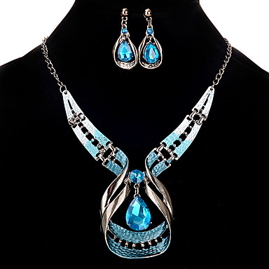 cheap Jewelry Sets-Women's Jewelry Set Hollow Out Rhinestone Earrings Jewelry Silver For Festival