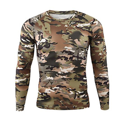 cheap Hunting & Nature-Men's Camo Hiking Sweatshirt Long Sleeve Outdoor Quick Dry Ultraviolet Resistant Stretchy Sweat-wicking Tee / T-shirt Autumn / Fall Spring Terylene Climbing Camping / Hiking / Caving Gray+White Light