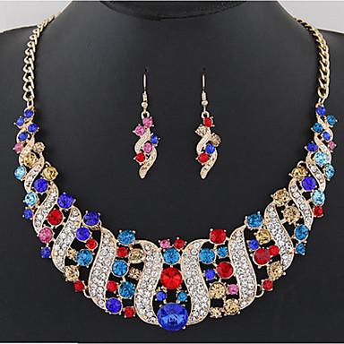 cheap Rose Gold Jewelry Set-Women's Citrine Drop Earrings Collar Necklace Rainbow Ladies Stylish Luxury Classic Elegant Bridal Rhinestone Earrings Jewelry White / Black / Purple For Wedding Party