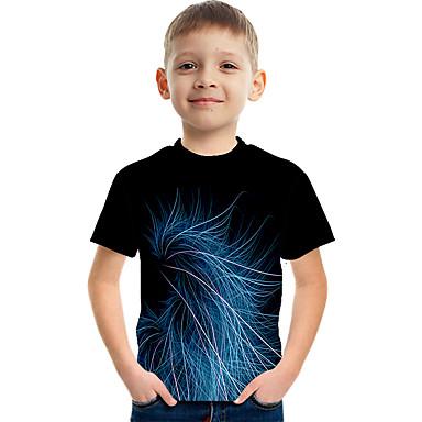 hesapli Kids CollectionUnder $8.99-Çocuklar Genç Erkek Actif Sokak Şıklığı Zıt Renkli 3D Desen Kısa Kollu Tişört Havuz