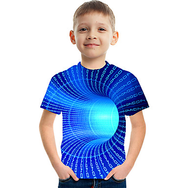 cheap Baby & Kids-Kids Boys' T shirt Tee Color Block 3D Rainbow Print Short Sleeve Basic Streetwear Blue 3-12 Years