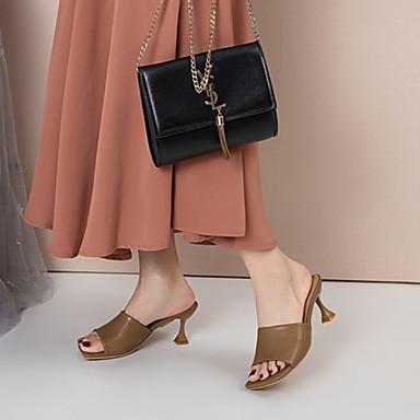 cheap Women's Shoes-Women's Slippers & Flip-Flops Cuban Heel Round Toe PU Spring & Summer Red / Brown / Black
