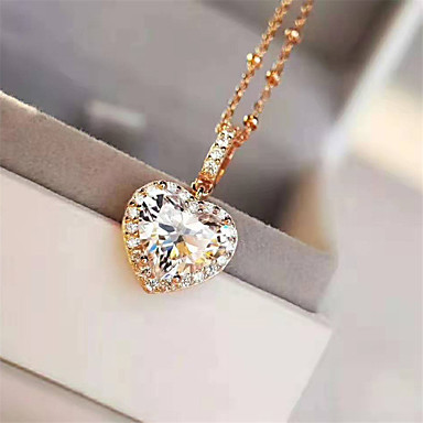 cheap Fine Jewelry-3 carat Synthetic Diamond Necklace Silver For Women's Heart cut Ladies Stylish Luxury Elegant Wedding Party Evening Formal High Quality Classic