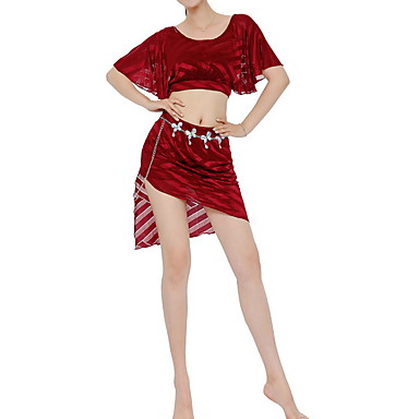 cheap Dancewear & Dance Shoes-Belly Dance Skirts Crystals / Rhinestones Women's Training Performance Short Sleeve Elastane