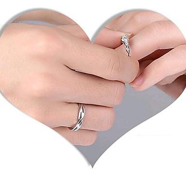 levne Fashion Ring-Pro páry Snubní prsteny 2pcs Stříbrná Měď Svatební Zásnuby Šperky