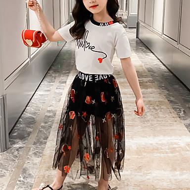 abordables Sets de Vêtements pour Filles-Enfants Fille Actif Usage quotidien Habillé Noir & Blanc Géométrique Imprimé Brodée Imprimé Manches Courtes Normal Normal Ensemble de Vêtements Blanche