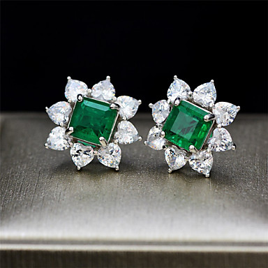 cheap Fine Jewelry-3 carat Synthetic Emerald Earrings Alloy For Women's Emerald cut Antique Luxury Bridal Wedding Party Evening Formal High Quality Big 1 Pair