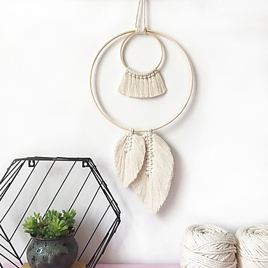 cheap Wall Tapestries-Hand Woven Macrame Wall Hanging Ornament Bohemian Boho Art Decor Home Bedroom Living Room Decoration Nordic Handmade Tassel Cotton Leaf