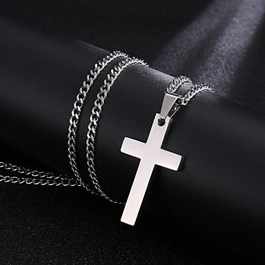 cheap Customized Jewelry-Personalized Customized Necklace Name Necklace Titanium Steel Classic Name Engraved Cross Gift Festival 1pcs Black Gold Silver / Laser Engraving