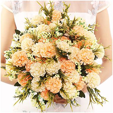 cheap Artificial Flowers & Vases-Pearl Ball Chrysanthemum Handmade Silk Flower Plant Bouquet Decoration