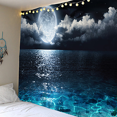 cheap Wall Art-Moon Night Wandtapijt Bed cover Muur Opknoping Camping Grote Print Stof Galaxy decor Rechthoek Home Decor Ronde Handdoek