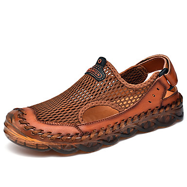 cheap Men's Sandals-Men's Summer Casual Outdoor Beach Sandals Water Shoes / Upstream Shoes Mesh Breathable Non-slipping Wear Proof Light Brown / Black