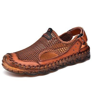 preiswerte Herren Sandalen-Herrn Sommer Freizeit Draussen Strand Sandalen Wasser-Schuhe / Upstream Schuhe Gitter Atmungsaktiv Rutschfest Tragen Sie Beweis Hellbraun / Schwarz