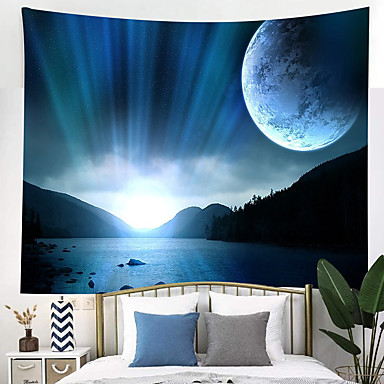 cheap Wall Tapestries-Wall Tapestry Art Decor Blanket Curtain Picnic Tablecloth Hanging Home Bedroom Living Room Dorm Decoration Fantasy Mountain Lake Space Planet Moon Earth Stars