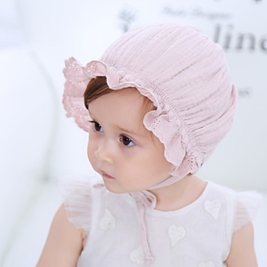 cheap Kids' Accessories-Kids Unisex Solid Colored Hats & Caps Blushing Pink / White