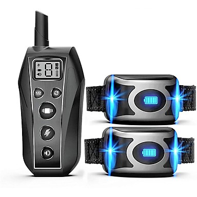 cheap Pet Supplies-IPX7 Waterproof Rechargeable Remote Pet Dog Training Collar LED 3 Modes Beep Vibration Shock Pet Behavior Training For 2 Dogs