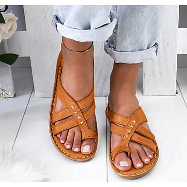 cheap Women's Sandals-Women's Sandals Wedge Sandals Flat Sandals Bunion Sandals Summer Flat Heel Open Toe Daily PU White / Yellow / Brown