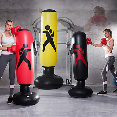 cheap Punching Bags & Boxing Pads-Inflatable Boxing Punching Bag for Taekwondo Martial Arts Kick Boxing Muay Thai Leak-Proof Explosion-Proof Freestanding Flexible Strength Training Stress Relief Crossfit Black Red Yellow / Kid's