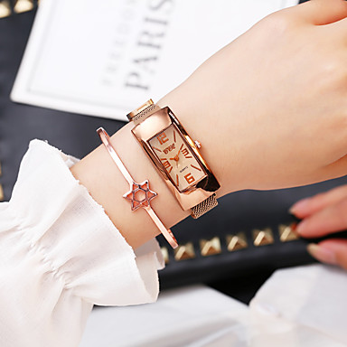cheap Square & Rectangular Watches-Women's Quartz Watches Quartz Stylish Fashion Casual Watch Rose Gold Analog - White Black Blue One Year Battery Life