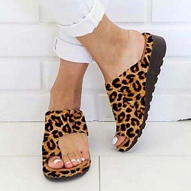 hesapli Kadın Sandaletleri-Kadın's Sandaletler Topuklu Sandaletler Düz Sandalet Bunyon Sandalet Düz Taban Açık Uçlu Günlük PU Yaz Deve / Mor / Sarı