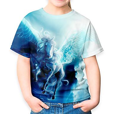 abordables Hauts Filles-Enfants Fille Actif Basique Cheval 3D Animal Manches Courtes Tee-shirts Bleu