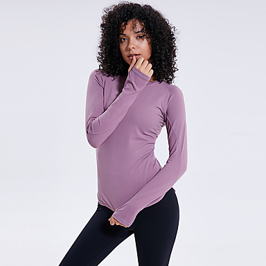 Women's Thumbhole Elastane Workout Tops Running Shirt Long Sleeve Active Training Fitness Jogging Gym Workout Breathable Soft Moisture Wicking Sportswear Top Activewear Micro-elastic
