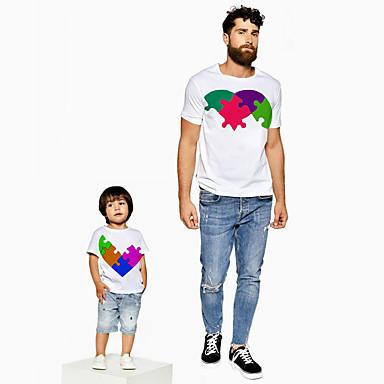 お買い得  ファミリー洋服セット-お父さんと私 活発的 ベーシック カラーブロック グラフィック 半袖 レギュラー Tシャツ ホワイト